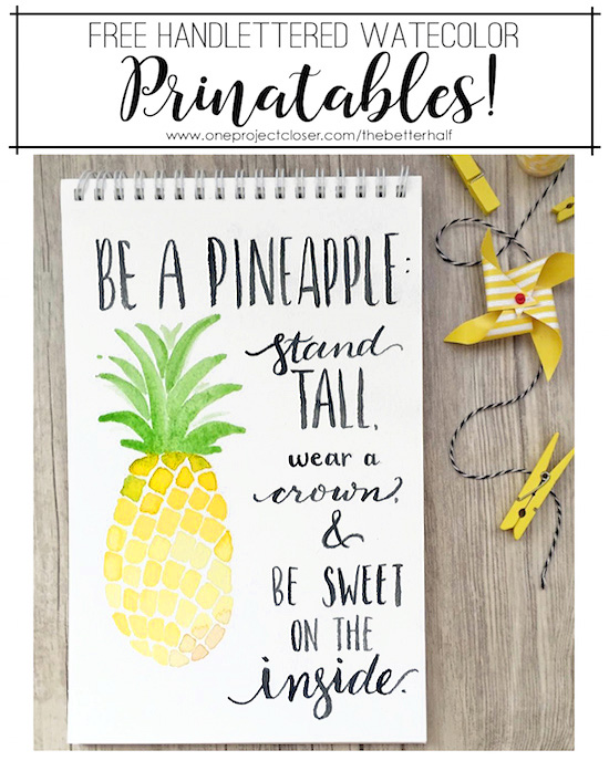 picture relating to Free Printable Pineapple identified as No cost Watercolor Printable: Be A Pineapple - A single Venture Nearer
