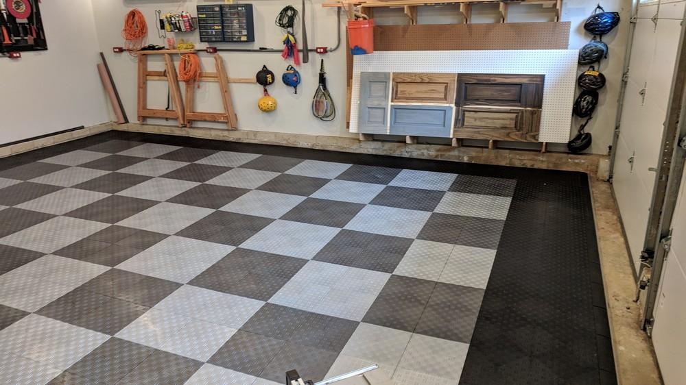 How To Install Garage Floor Tile Motordeck Tile Example One